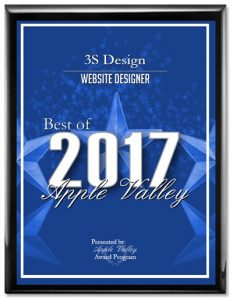Best Web Designer 2017, 3S Design, Apple Valley